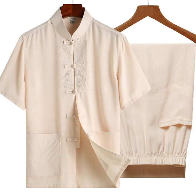 Traditional Chinese Tang Suit Top Summer Shirt&pant set Men Short Sleeve Satin Men Kung Fu Tai Chi Clothing Plus Size 3XL 4XL