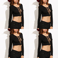 T-shirt Crop Top Pullovers Women Tight Slim Shirts 90's Tanks Cropped Tops Lace Up Long Sleeve Sexy Camisetasy Fashion 2017