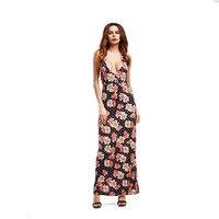 Women Long Maxi Dress 2018 Summer Russian Style Floral Print Beach Dress Casual Sexy Elegant Vestido Deep V Backless