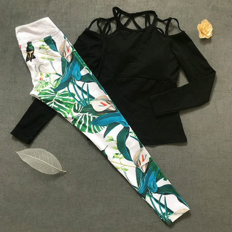 Colorvalue Sexy Printed Sport Set Women Off-shoulder Slim Yoga Shirt with Padded Stretchy Fitness Leggings Workout Yoga Clothes