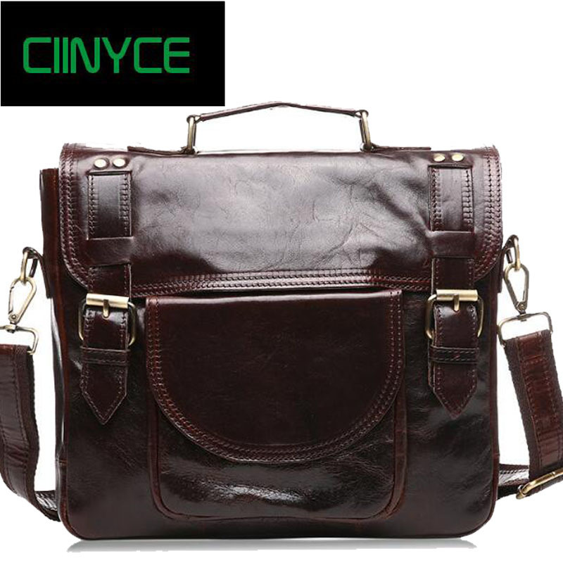 Genuine Cow Leather Men Cowhide Wax Oil Briefcase Shoulder Messenger Male Handbag Brown Business Totes Vintage Laptop Bags brand p kuone genuine cow leather real cowhide men s brown black business computer laptop shoulder bag briefcase handbag male