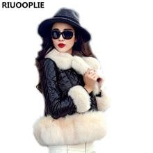 RIUOOPLIE Fur Faux Fur Coat Cape Jacket 2017 Fur Overcoat Imitation Fur Faux Fox Collar Short Coat(China)