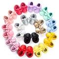 ROMIRUS Nueva Marca de la Astilla de Oro Arco Grande de Cuero de La Pu franja Mocasines Sólidos Zapatos Para Niños Niños Niñas Bebé Primero caminantes