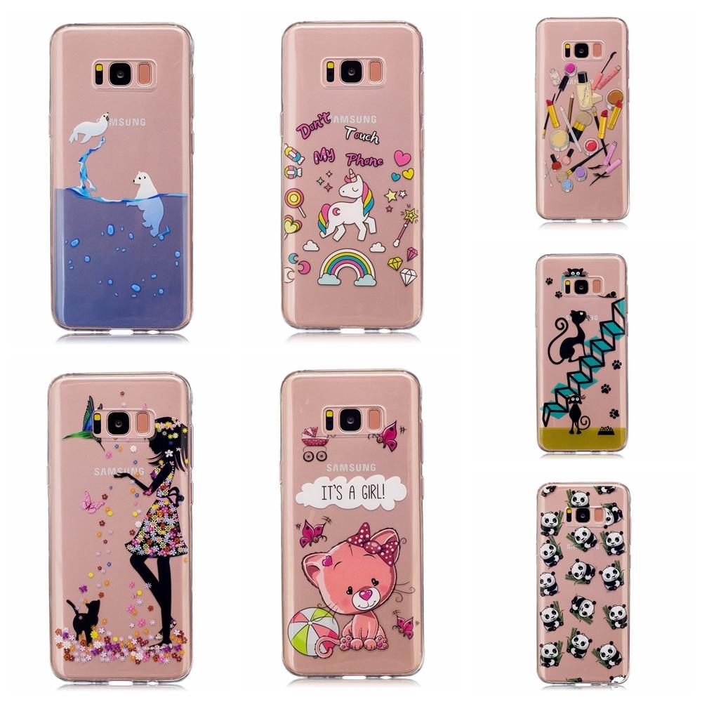 Beautiful icecream cat horse patterns Transparent TPU Soft Phone Case Cover For Samsung S8 Plus phone case