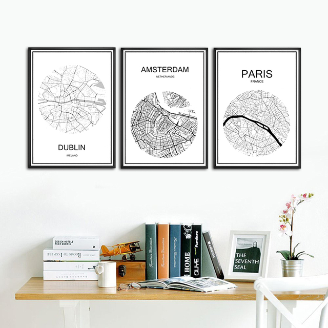 Abstract World City Street Map LJUBLJANA Slovenia Print Poster Coated Paper Cafe Living Room Home Decor Wall Sticker 42x30cm