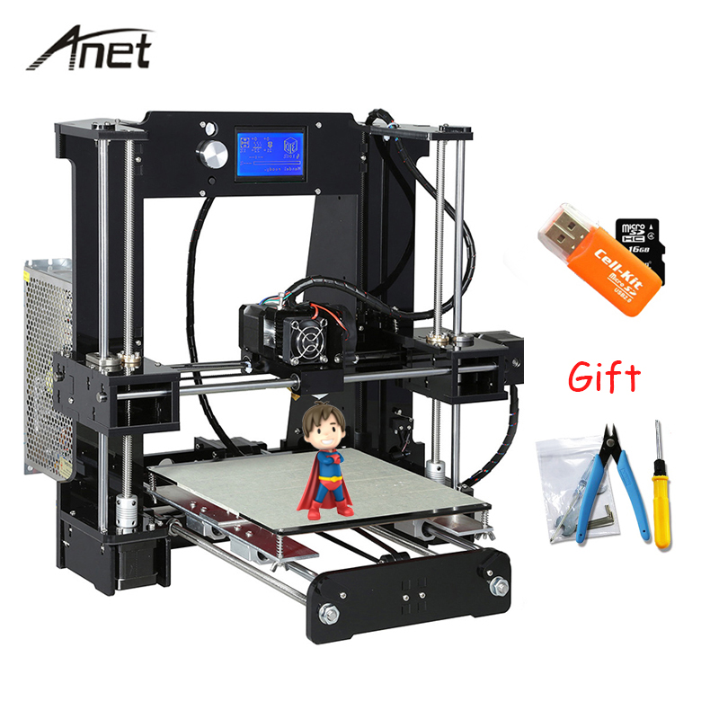 Anet Auto leveling A8 A6 impresora 3d Normal A8 A6 DIY 3D Printer Kit Aluminium Hotbed Imprimante 3D With 10m Filament SD Card жакет женский oodji ultra цвет черный 11200286b 14917 2900n размер 34 170 40 170