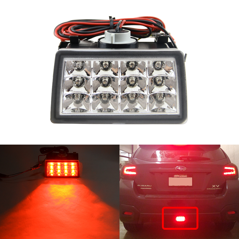 Brilliant Red Clear Lens F1 Style Led Rear Fog Brake Backup Light Kit For Subaru XV Crosstrek Impreza WRX/STi Tail Lights 12V cyan soil bay led rear bumper reflector brake fog lights for subaru exiga levorg wrx sti legacy xv crosstrek impreza 11 12 13