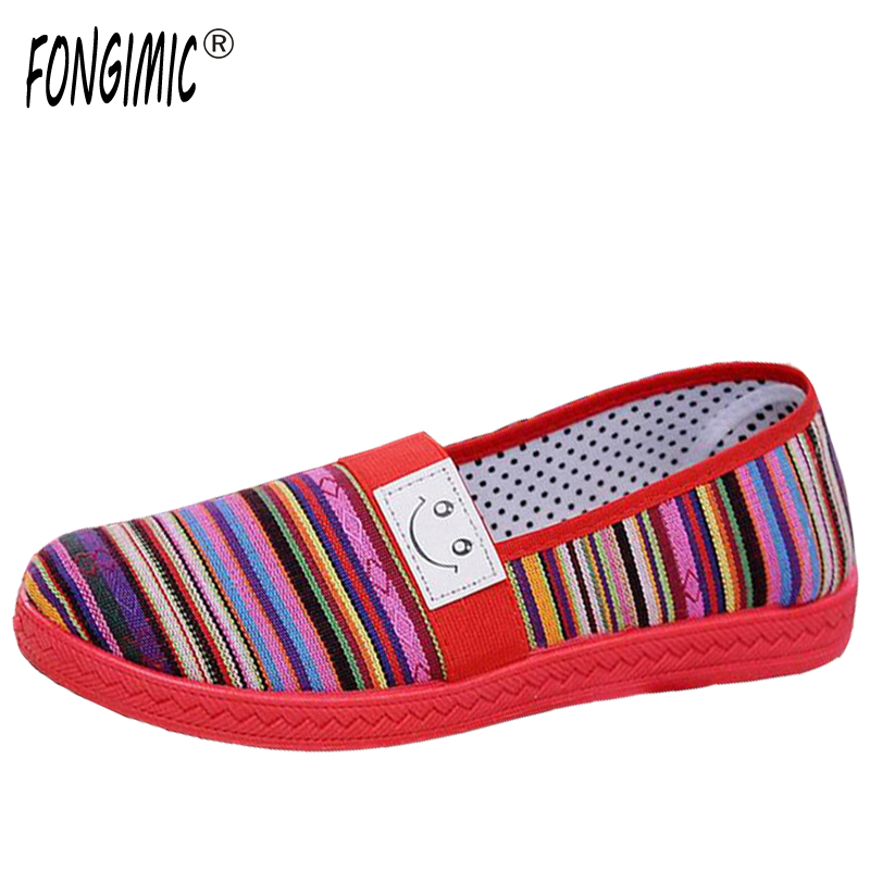 Fashion Spring Autumn Women Canvas Comfortable Sport Casual stripe Simple breathable Women Classical Flat with Shoes Hot Selling 2017 spring and autumn hot selling women s comfortable diabetic shoes foot swollen foot care shoe breathable flat bunion shoes
