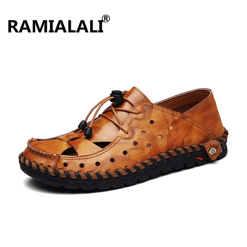 Noir Plage Mode Nouveaux Casual Chaussures 46 red Style yellow 38 D'été Grande Sandales Hommes Cuir Brown De Brown Rome Véritable Respirant Taille zrqw0TxzF