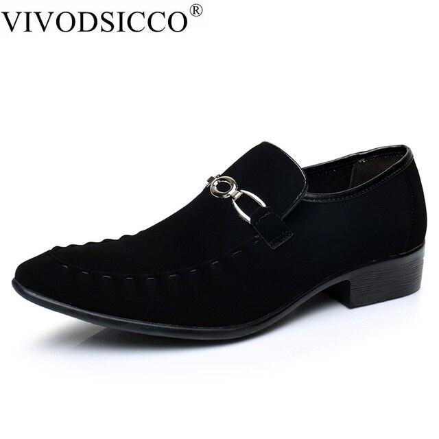 28fd5c733 VIVODSICCO Homens de Negócios Vestido Sapatos Estilo de Moda Homem Sapatos  de Couro Camurça Sapato Social