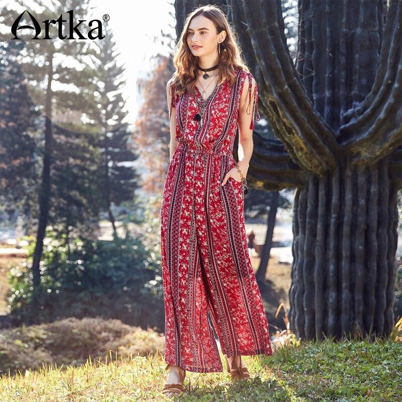 Artka 2018 Summer Women Holiday Style Floral Drawstring Tassel High Waist V neck Casual Loose Wide Leg Pants Jumpsuits KA10284X