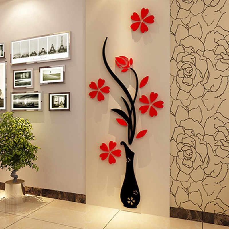 Acrylic Family Tree Photo Frame Wall Stickers DIY Crystal Mirror Stickers Pas...