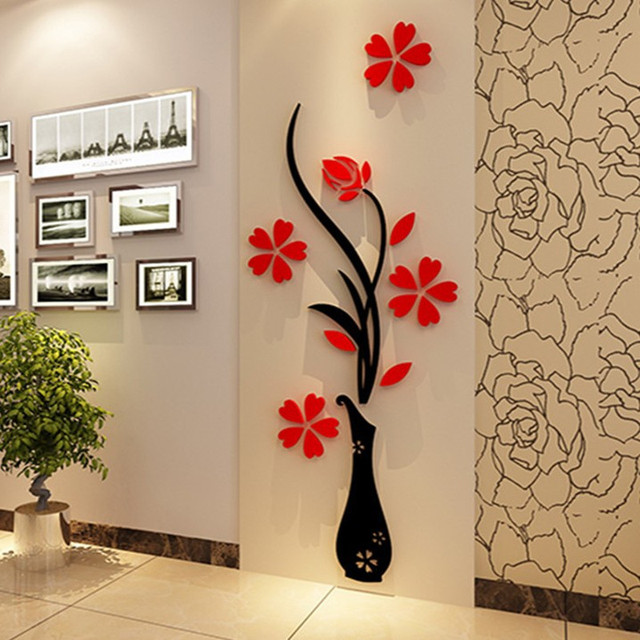 Fashion Diy Home Decor Vase Flower Tree Crystal Arcylic Wall Stickers Vinyl Art Decal