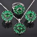 Luxuoso Criado Verde Esmeralda Conjuntos de Jóias das Mulheres 925 Sterling Silver Brincos/Pingente/Colar/Anéis Frete Grátis QZ010