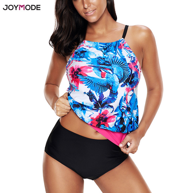 ff67de5b3c JOYMODE 2018 Bikini Plus Size Print Swimsuit Two Pieces Tankini Shorts  Swimwear Floral Beach Bathing Suit Padded Women Biquini