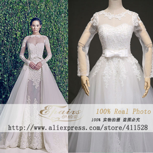 2015 zuhair murad see through long sleeve lace wedding dresses real ...