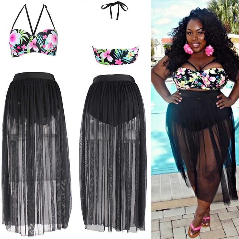 e913a957ca 2018 Plus Size Bikini Sets Womens Graffiti Printed bikini Swimwear High  Waist Beachwear Swimsuit Big Size