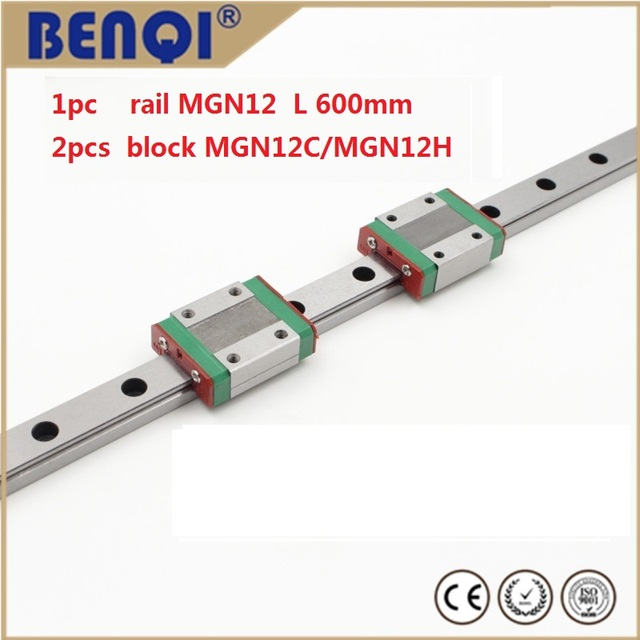 Free shipping linear rail 600mm MGN12 + 2pcs  MGN12C/MGN12H block linear guide MGN12C 600mm MGN12H 600MM TWO BLOCKS EACH RAIL