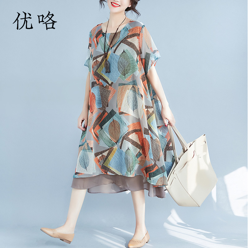 Women Chiffon Summer Dresses Casual Plus Size Leaves Print Beach Dress Femme Short Sleeve Loose Elegant New Dress 4XL 5XL 6XL