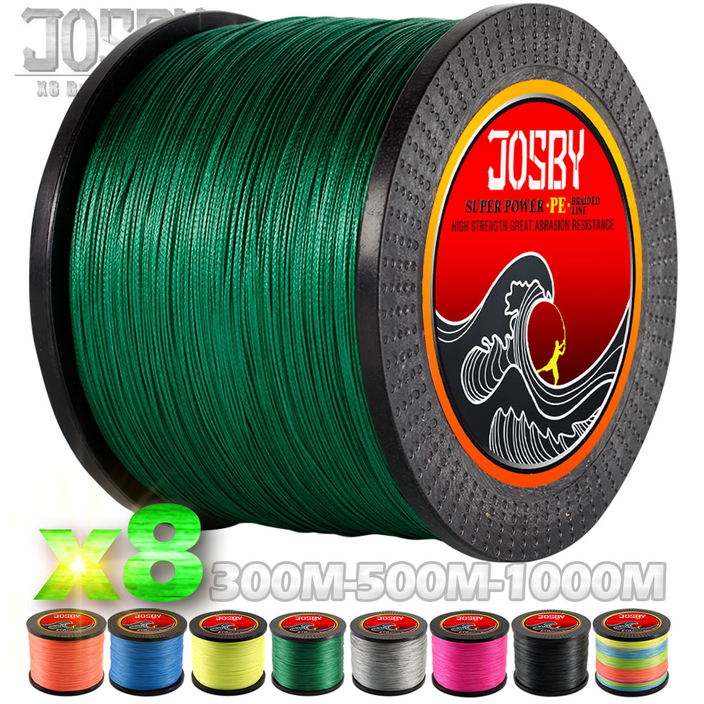 цена на JOSBY 300M 500M 1000M 8 Strands 10-78LB New PE Braided Fishing Wire Multifilament Super Strong Fishing Line Japan Multicolour