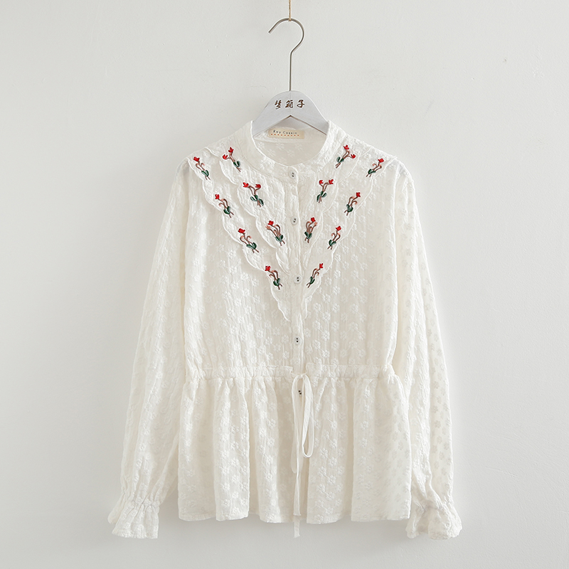 Bohemian design lace   shirt   women autumn spring Japan style boho sweet long sleeve embroidery lace   blouse   blusas mujer de moda