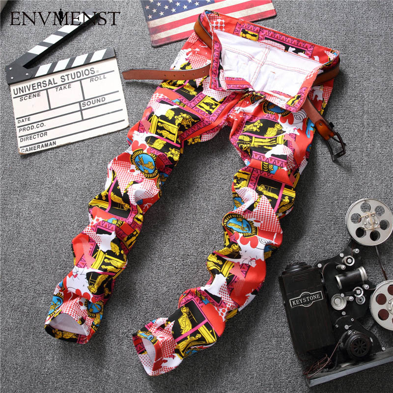 2017 Jeans Men Slim Fit Elastic Hipster Floral Printed Skinny Mens Jeans Brand Tights Denim Pencil Pants Jogger Male Trouser red white mens stretch jeans slim fit ink printed street fashion skinny jeans men hip hop casual jogger pants male trouser brand
