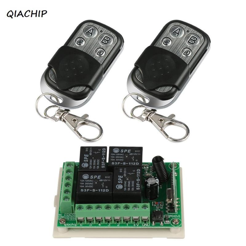 QIACHIP 433Mhz Wireless Remote Control Switch DC 12V 10A 4 button Relay Receiver Module and 2pcs 433Mhz RF Remote Transmitter H3 dc24v 8ch rf wireless remote control switch 8 receiver