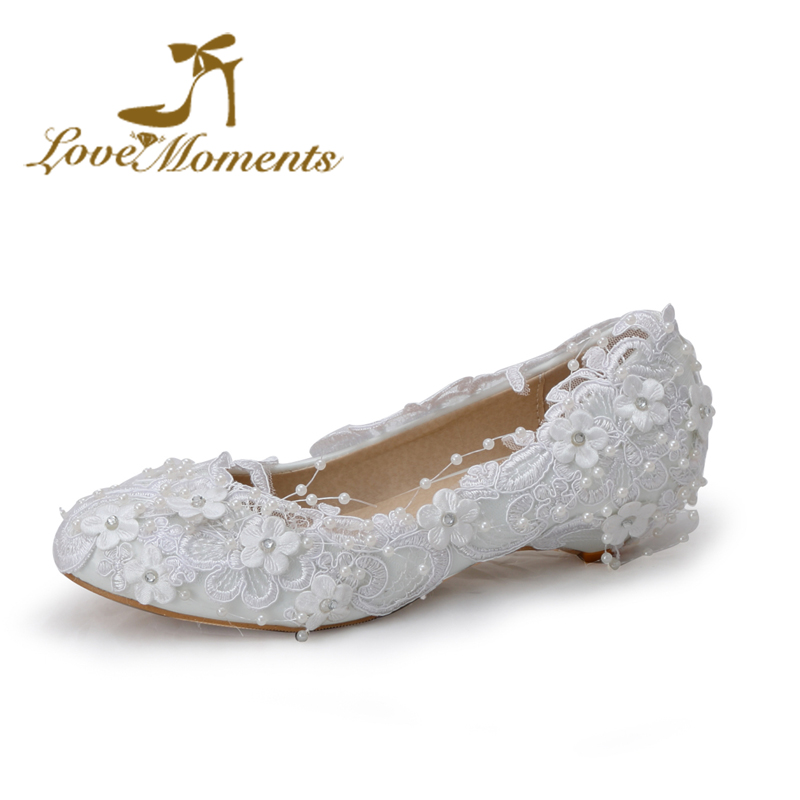 Love Moment sweet lace flowers unique wedding shoes white bridal pumps for women wedges handmade pearl beading large size40-44
