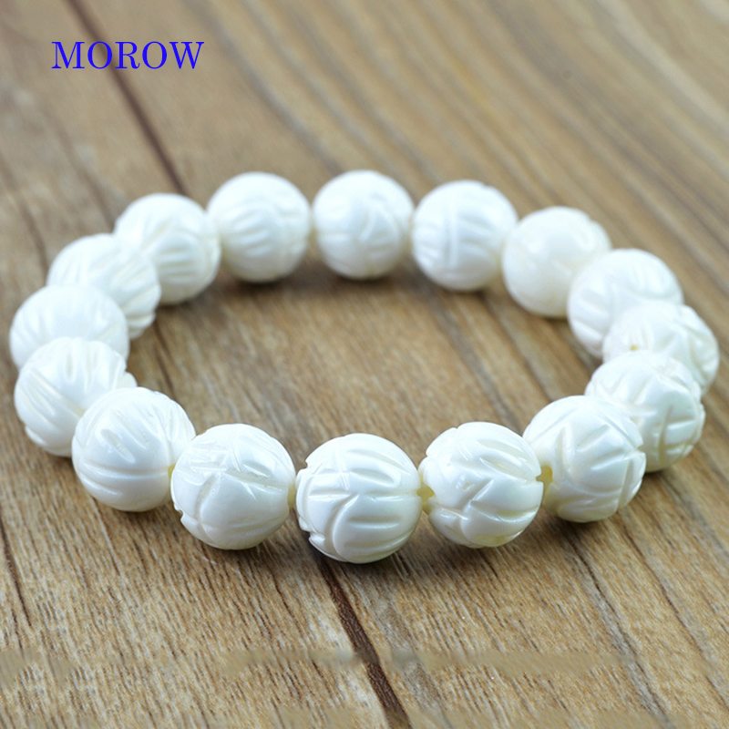 MOROW Charm Natural Lotus White Tridacna Stone Round Beads Bracelets High Quality Simple Bracelet for Women Friend Men Gift Hot