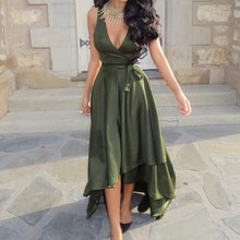 Women Ladies Dresses Sexy Summer V Neck Swing Pleat Sleeveless Solid One Piece A Line Maxi Dress With Belt Army Green S/M/L/XL