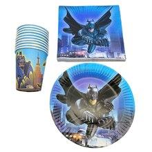 60pcs/lot Decoration Happy Birthday Batman Theme Tableware Set Cups Kids Boys Favors Paperboard Plates Baby Shower Party Napkins