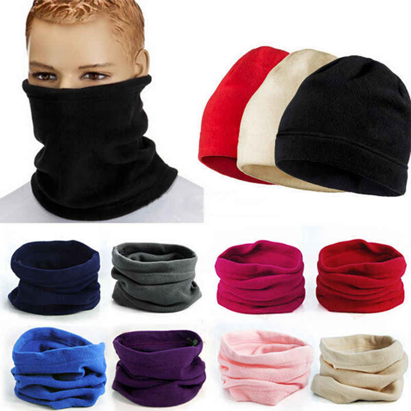 Unisex Pria Wanita Baru 3 In 1 9 Warna Scarf Multifungsi Termal Bulu Hangat Jaring Rambut Syal Leher Hangat Beanie Ski balaclava Hat
