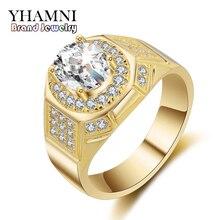 YHAMNI Fashion Yellow Gold/White Gold Color Ring Luxury Gold Filled 2 Carat SONA CZ Diamant Men Engagement Wedding Rings MJ030