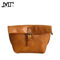 MJ Soft Genuine Leather Women Messenger Bag Female Real Leather Crossbody Shoulder Bags Small Handbag Retro Phone Bag for Girls