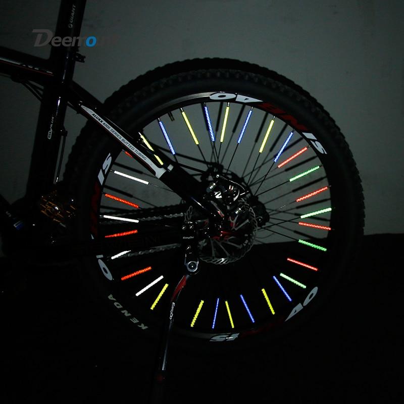 Deemount 60PCS Bicycle Light Reflective Bars for Spoke Use Light Sensitive Strips Visual Warning Figments Safe Bike Cycling(China)