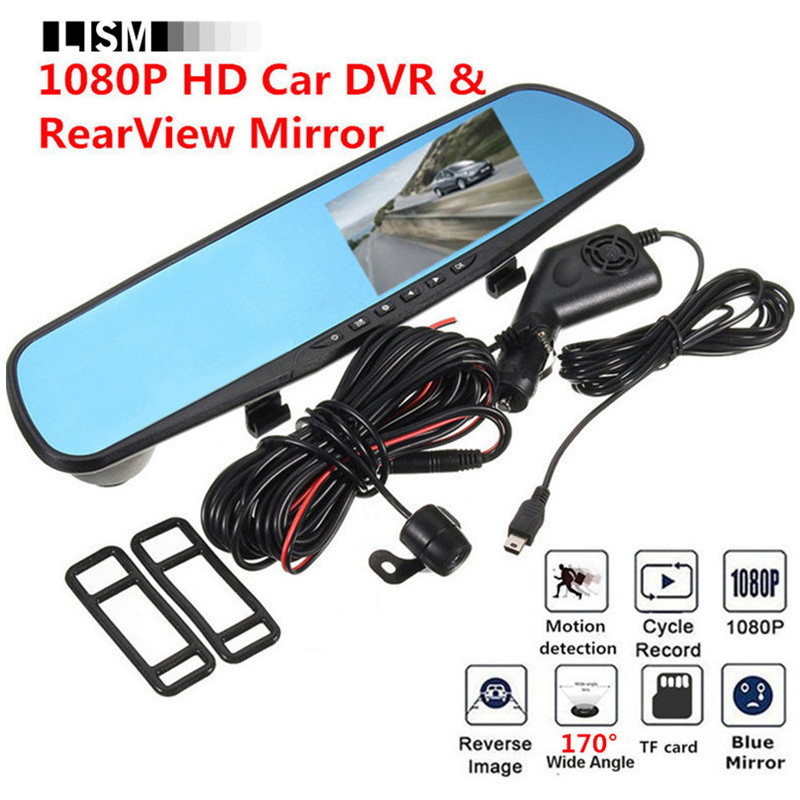 1080P 170Degree HD Car DVR RearView Mirror Kit Dashcam Wide Vision DVRs Front Rear View Camera Car Mirror Smart Dash Camera Cam 50pcs lot mjd117