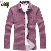 Jeep Afs שרוול הארוך של גברים מזדמנים עסקים של גברים אופנה צבע טהור חולצת Slim דש חולצות של גברים נוחים 75