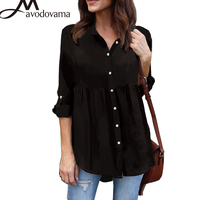 AVODOVAMA M Women Casual Button Solid Office Lady Elegant Tops Loose Chiffon Sexy V Neck Blouses