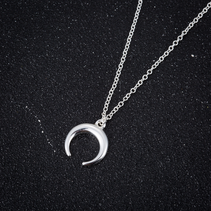 ALI shop ...  ... 32840292004 ... 4 ... SMJEL Silver Color Curved Cresent Moon Horn Pendant Necklaces Women Moon Gothic Handmade Necklace Choker Collier femme Jewelry  ...