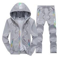 Fashion Brand Mens Sportswear 2019 Autumn Winter Men Set Zipper Hooded Long Sleeve Sweatshirt+Pants 2 Piece casual Outwear