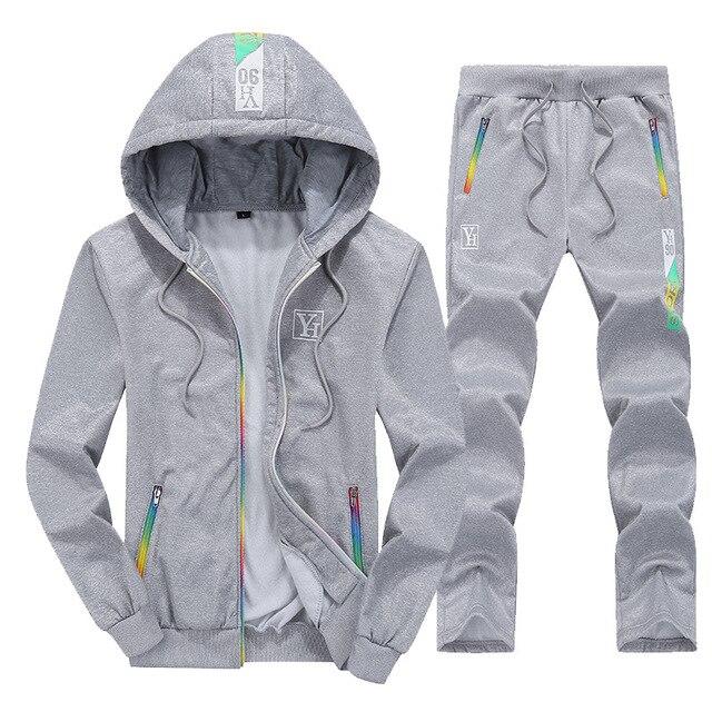 Fashion Brand Men's Sportswear 2019 Autumn Winter Men Set Zipper Hooded Long Sleeve Sweatshirt+Pants 2 Piece Set casual Outwear