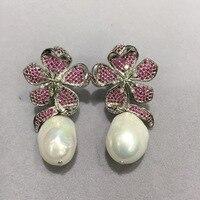 baroque natural fresh water pearl earring