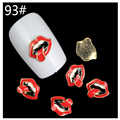 10 Pcs/Lot 2016 New Red Lips 3D Metal Nail Art Decorations DIY Silver Alloy Rose Gold Studs Supplies For Nails 93#