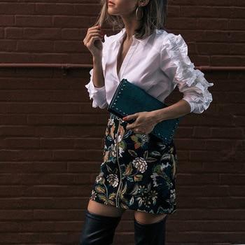 Blusa blanca manga larga vintage cuello solapa