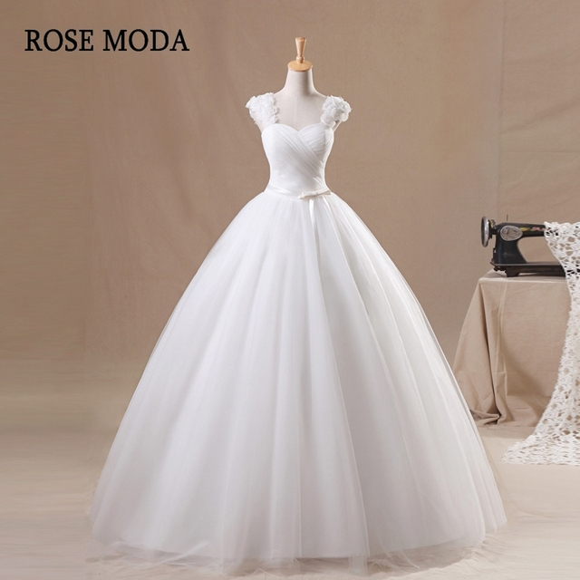 Rose Moda Cap Sleeves Tulle Wedding Dress 2018 Princess Wedding Ball ...
