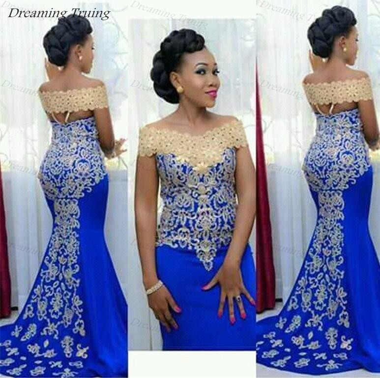 cb46f741d0 African Black Girls Mermaid Prom Dresses With Gold Appliques Long Royal  Blue Off Shoulder Women Evening Party Gown Robe Soiree-in Prom Dresses from  ...