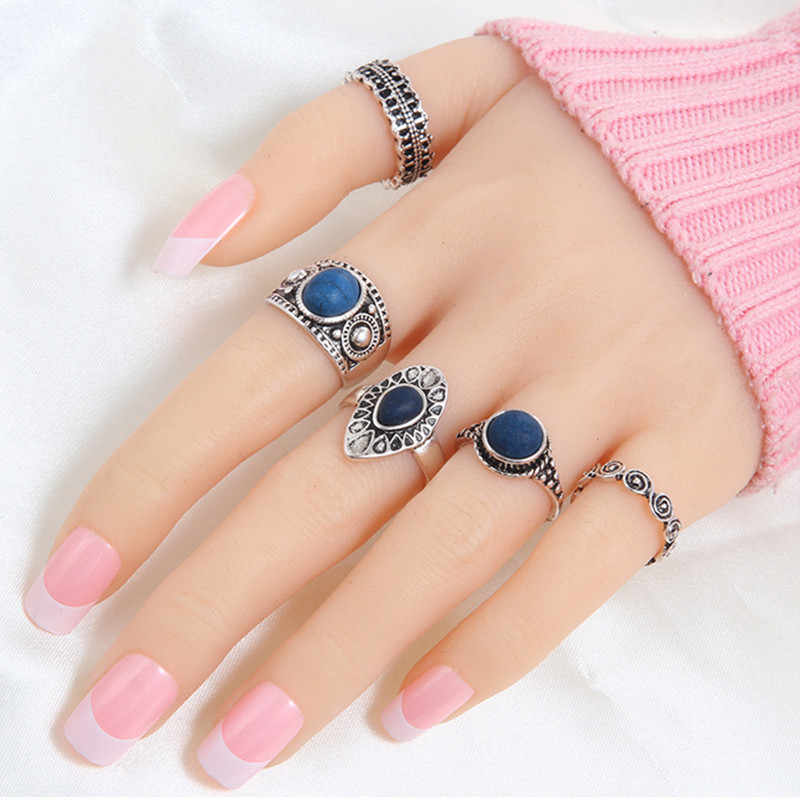 Bohemian Vintage Auspicious clouds Blue Crystal Rings 5pcs/set   circle Midi Rings Set of Rings for Women Party Birthday Gift