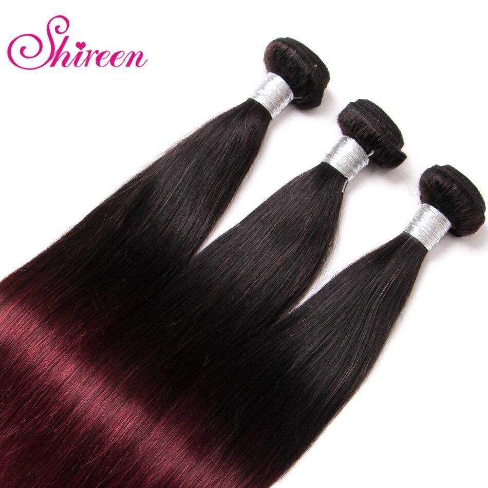 4Bundles Burgundy Malaysian Straight Hair Bundles Ombre Human Hair Extensions 1b 99J Malaysian Non Remy Hair Weave Shireen hair