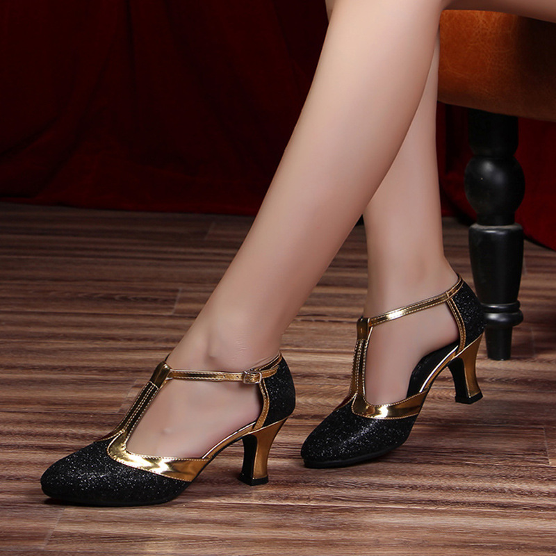 Ladies Tango Shoes Ballroom Party Waltz Dancing Heels Soft Outsole Dance Shoes