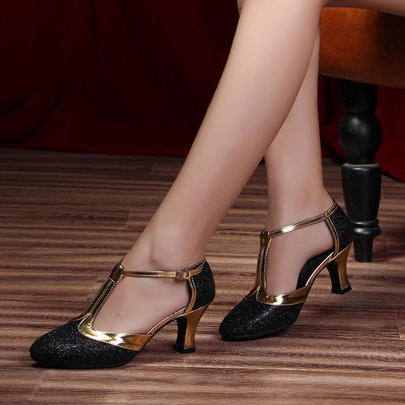 HoYeeLin New Modern Dance Shoes Women Ladies Closed Toe Tango Shoes Standard Waltz Ballroom Dancing Heels Indoor Suede Sole